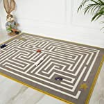 Milan Contemporary Maze Track Design Interactive Grey Ochre Yellow Children Kids Affordable Bedroom Rug