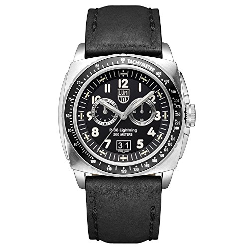 Luminox P-38 LIGHTNING™ Chronograph Men's Quartz watch with Black dial featuring LLT Luminox light Technology 44 millimeters Stainless Steel case and Black Leather Strap  XA.9441