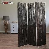 Homestyle4u 3 fach Paravent Raumteiler Weide Trennwand Weidenparavent in braun