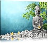 Dark Buddha auf Steinen mit Monoi Blüte in der HandFormat: 100x70auf Leinwand, XXL riesige Bilder fertig gerahmt mit Keilrahmen, Kunstdruck auf Wandbild mit Rahmen, günstiger als Gemälde oder Ölbild, kein Poster oder Plakat