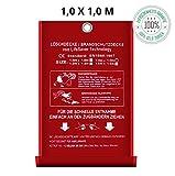 Löschdecke Brandschutzdecke I 1x1 m nach DIN EN 1869 geprüft I Feuerlöschdecke I Sicheres Feuer löschen mit Qualität Bringt Sicherheit in Ihr Heim oder für Ihre Arbeit
