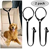 CGBOOM 2 Pack Dog Car Seat Belt, Dual Use Adjustable Dog Car Restraints