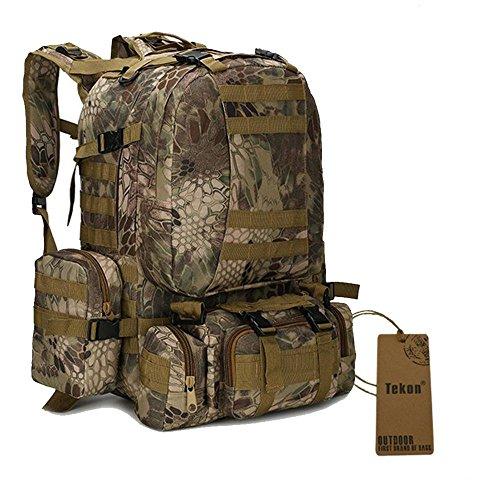 Tactical Rucksack Paket mit 2.5L Hydration Wasser Blase und 3MOLLE Taschen Tan Python Grain