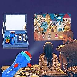 Unbekannt Projektor Taschenlampe,Kinder Geschichte Projektor Mit 4 Märchen 32 Folien,Kinder Projektionslampe