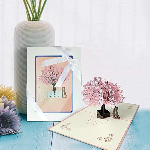 3D Grußkarte, Hochzeitskarte, 3D Pop Up Romantik Faltkarte mit Umschlag, Geschenkkarte zum Geburtstag Valentinstag Hochzeitseinladung (Kirschblüte)