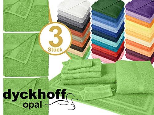 Frottee-handtücher Bad (Frottiertücher der Serie Opal - erhältlich in 33 modernen Farben und 7 verschiedenen Größen -Markenqualität von Dyckhoff, 1 Pack (3 Stück) - Handtücher [50 x 100 cm], hellgrün)