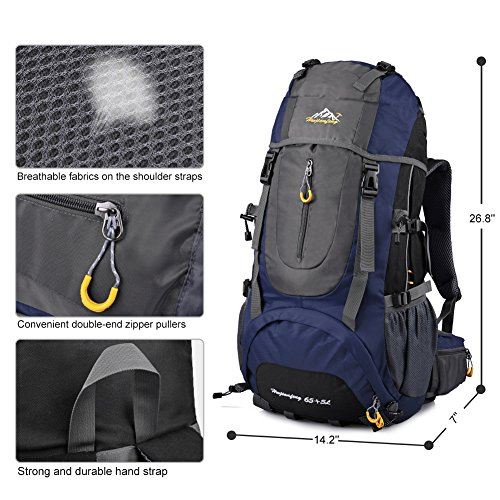 Imagen de vbiger  impermeable 65+5l per alpinista senderismo viajes azul  alternativa