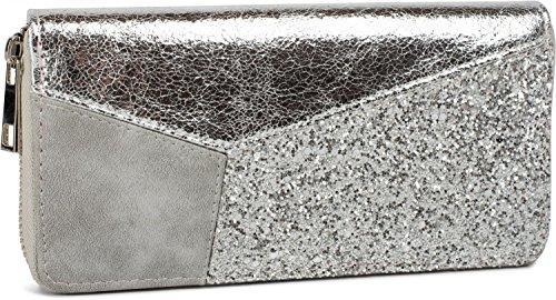 styleBREAKER Geldbörse im Materialmix mit Pailletten und Metallic Look, umlaufender Reißverschluss, Portemonnaie, Damen 02040071, Farbe:Silber metallic / Grau / Silber