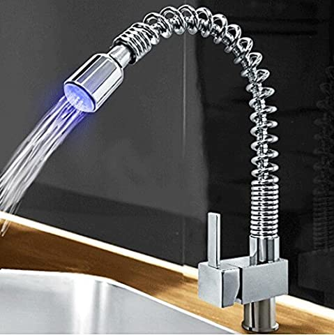 Auralum® Robinet de Cuisine Design LED Boucle Mitigeur de Cuisine avec Douchette Extractible - LED (Bar Rubinetto Maniglie)