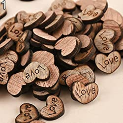 "Item Name: Wooden PiecesMaterial: WoodQuantity: 100Pcs/1SetFeatures: Wedding Decoration, Card Making Scrap- Booking, Wooden Love Hearts/StarsSize: 2.5cm/0.98"" (Approx.)Notes:Due to the light and screen setting difference, the item's color may..."