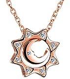 Infinito U Elegante Collar de Plata 925 Diseño Colgante de Sol Luna con Circonita Cadena Ajustable Color de Oro Rosa Collares para Mujeres Chicas