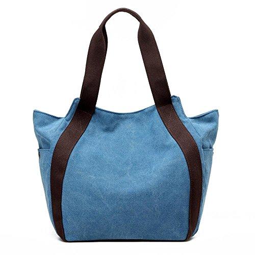 Sacchetto di tela di canapa Sacchetti di spalla del messaggero portatile di spalla grande Blue