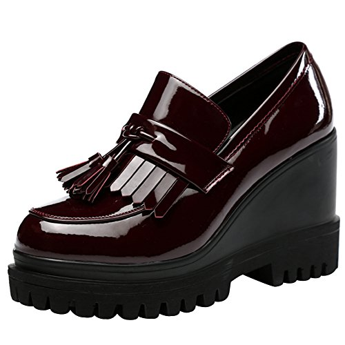 wealsex Mocassins Plateforme Compensée avec Frange Cuir Vernis Derbies Creepers Chaussures Ville Mode Femme Bordeaux