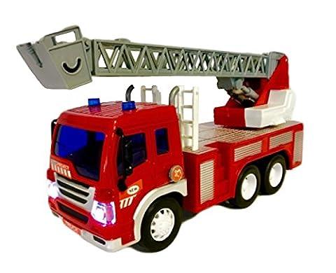 Fun Toys gl44595a–Module de Pompiers avec échelle, lumière et son tournant, piles incluses, les transports modèle, 1: 16, 30cm, rouge