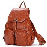 DRF Damen Rucksack aus Leder Daypack für Freizeit 28x38x12 cm #BG-120 (Braun)