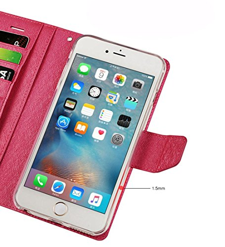 "MOONCASE iPhone 6 Plus/iPhone 6s Plus Coque, Premium PU Cuir Flip Cover Housse Portefeuille Porte-cartes TPU Etui Case avec Béquille pour iPhone 6s Plus 5.5"" Noir Violet"