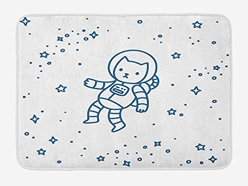 CHKWYN Kids Bath Mat, Cute Cartoon Astronaut Pioneer Cat Flying in Outer Space Doodle Style Constellation, Plush Bathroom Decor Mat with Non Slip Backing, 23.6 W X 15.7 W Inches, Dark Blue