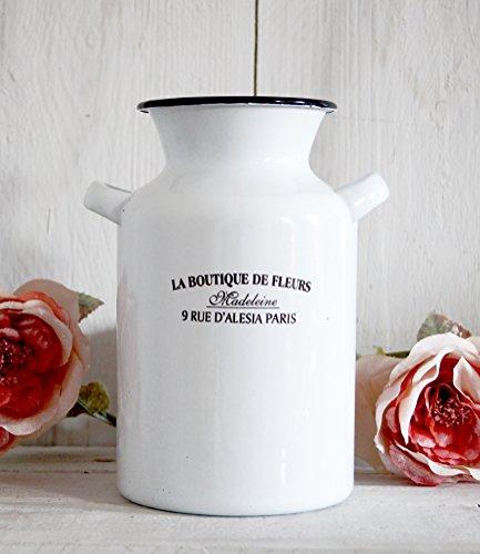 Blumenvase Vase weiß emailliert 20x12cm groß XL Metallvase PARIS antik Design