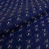 Hans-Textil-Shop Stoff Meterware Feine Blümchen (Blau)