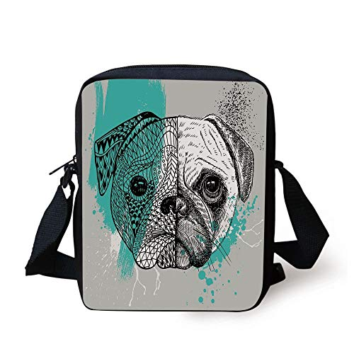 Pug,Hand Drawn Head of a Dog Blue Splashed Backdrop Two Different Halves of a Whole Decorative,Blue Black White Print Kids Crossbody Messenger Bag Purse -