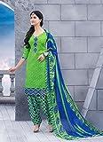 Green Jacquard Cotton Salwar Kameez (Uns...