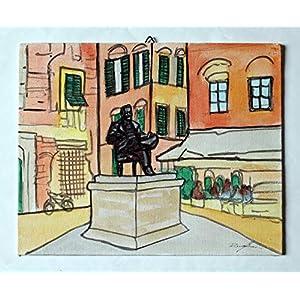 Giacomo Puccini -Malerei auf Leinwand der Statue von Maestro Giacomo Puccini in Lucca, Mischtechnik Aquarell, Acryl, Abmessungen cm 30x24x0,3 cm