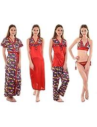 Senslife Women s Satin Solid Floral Print Nightwear 6pc Set of Nighty Wrap  Gown Top Pajama Bra e43109f33