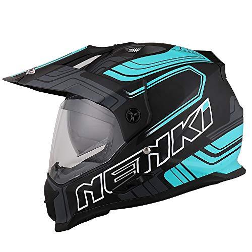 NENKI NK-313 Dual Sport Adventure Enduro Motorradhelme ECE-geprüft, mit Doppelvisieren (Schwarz Blau Matt, M)