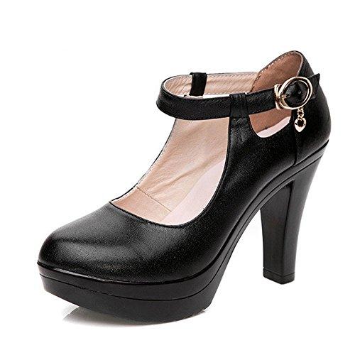 Elf Schuhe Womens (kalends Damen Echtleder Plus Größe Schnalle High Heels Arbeit Schuhe Pumpen, schwarz - schwarz - Größe:)