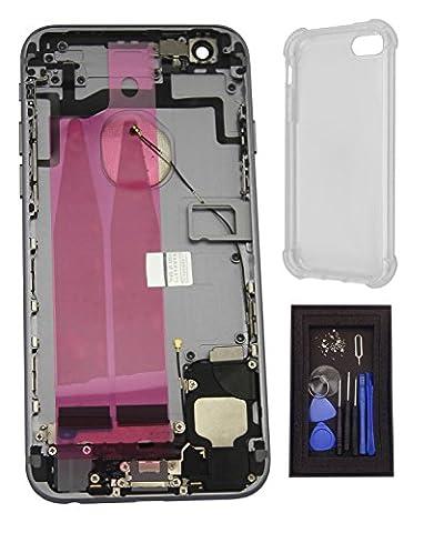 iRenovo® Coque Arrière Assemblée Complète de Remplacement pour Apple iPhone 6S Gris Sidéral (Space Grey) (Châssis Complet,Nappe connecteur de charge, Nappe et Bouton allumage, Nappe et Boutons Volume, Nappe et Bouton Vibreur, Prise Jack, Haut-parleur, Éjecteur et Tiroir Carte SIM, Autocollant Batterie) + Coque de protection transparente haut de gamme + Set de vis complet & Outils de réparation fournis (8 Pièces)