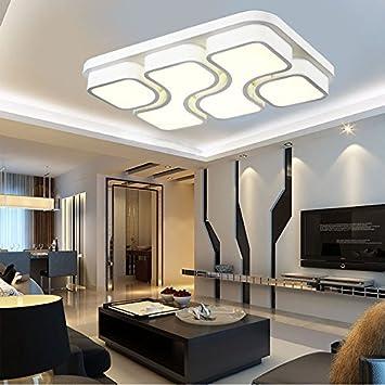 LED Die Deckenleuchte Wohnzimmer Lampe Rechteckig Schlafzimmer Studie Schmiedeeisen Beleuchtung 450450LED32W White Light Amazonde Kche