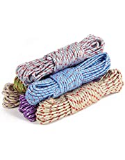 ALOUD CREATIONS 20-Meter Nylon Braided Twisted Rope for Drying Clothes, Hangers, Multi-Function, Windproof, Anti Slip, Colorful Rope, Dry Hanging Outdoor Indoor Travel – Pack of 4 Piece