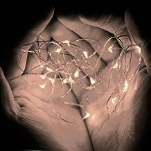 Top Longer 6.6ft cadena de baterías de luz LED de plata Operado luz de hadas con 20 brillantes LED de cuerda ultra delgada para Conjuntos árbol de la flor de la decoración -2 (Blanco cálido)
