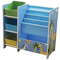 Liberty House Toys TF5007 Safari Book Display with Storage and 3 Fabric Bins