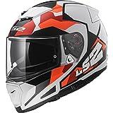 LS2 FF390 BREAKER SERGENT Bluetooth Pronto (Non incluso) Doppia Visiera Casco moto Integrale Integrali - Bianca Arancia S (55-56cm)