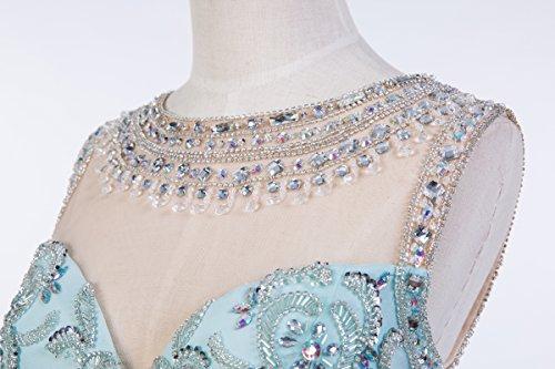 Bridal_Mall - Robe - Portefeuille - Sans Manche - Femme Bleu - Bleu