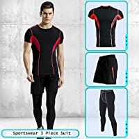Summer Men's Breathable Sportswear Set 3 Pieces Quick Dry Stretch Fitness Clothing Short Sleeve T-Shirt Shorts Leggings