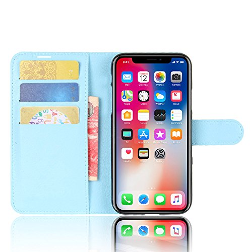 Nadakin Apple iphone X Hülle , Premium Leder Schutzhülle Flip Mappen Kasten Abdeckung,Handyhülle aus Taschenhülle mit Kreditkartenhaltern, Standfunktion, Geldbeutel, Magnetverschluss für Apple iphone  Himmelblau