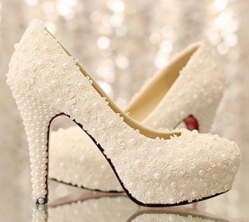 JINGXINSTORE Donne Round Toe sandali tacco alto Zbead Pizzo scarpe matrimonio EU38=US7=UK5
