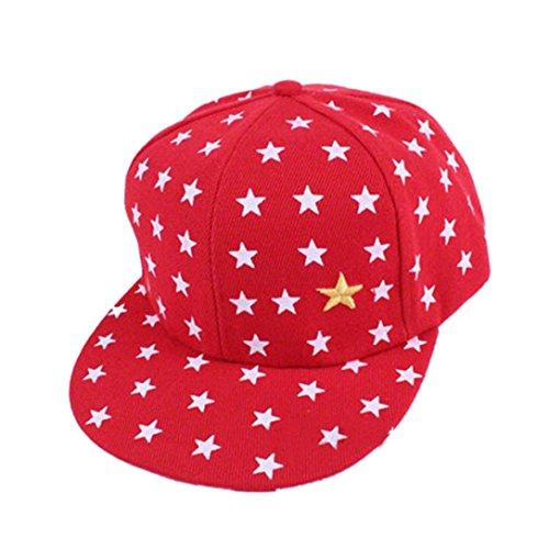 OYSOHE Neue Kinder Baby Kinder Stern Muster Hip Hop Baseball Cap erreichte Hut, Neueste Neue Kinder Baby Kinder Stern Muster Hip Hop Baseball Cap erreichte Hut (Einheitsgröße, Rot)