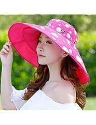 Hyun times Chapeau de plage femme été plage vacances protection solaire peut être plié soleil chapeau