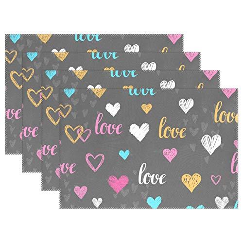 Jeansame, set di tovagliette all'americana con cuori, per san valentino, 45 x 30 cm, poliestere, multicolored table place mats, 1 placemat