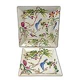 Better & Best 1395130 - Set de 2 ceniceros cuadrados de porcelana, con dibujo de pájaros y flores