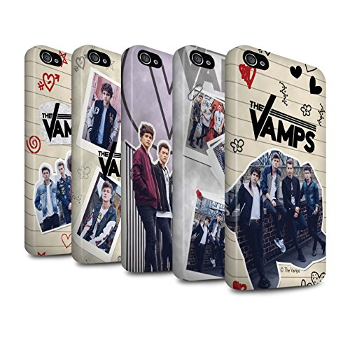 Officiel The Vamps Coque / Matte Robuste Antichoc Etui pour Apple iPhone 4/4S / Pack 5Pcs Design / The Vamps Livre Doodle Collection Pack 5Pcs