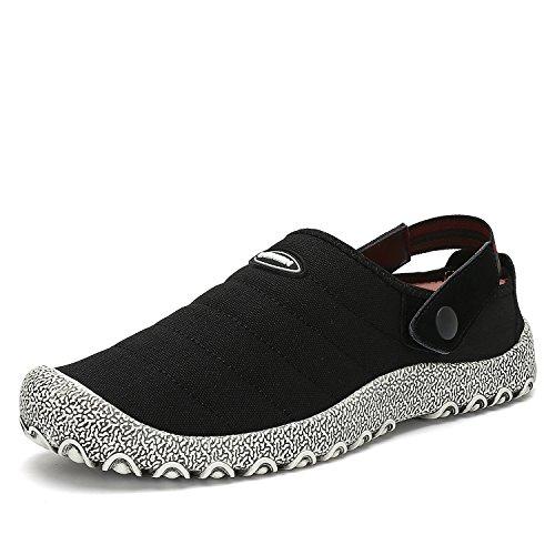 Voovix Herren Damen Slip-On Canvas Schuhe Low-Top Casual Sneaker Flach Hausschuhe Rutschfeste Trainer(Schwarz, 44EU) (Schwarz Schuhe Low Casual)