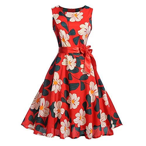 Frauen Weinlese Sleeveless O Ansatz, der Partei Abschlussball Schwingen Kleid druckt Malloom Vintage kleiderhaken Holz