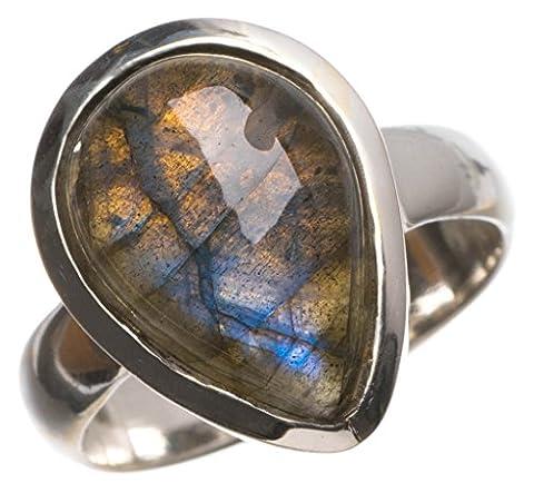 Stargems (TM) Naturel de qualité supérieure Blue Fire labradorite faite à la main vintage Bague en argent sterling 925, taille N