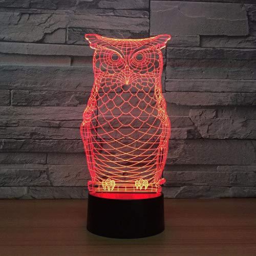 Kinder Nacht Schlaf Visuelle Geschenk 3D Eule-Geformte Tischlampe Führte 7 Farben, Um Die Atmosphäre Der Tier Nachtlicht Dekoration Zu Ändern