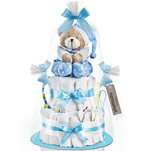 Timfanie® Windeltorte   Spieluhr (2-stöckig / baby-blau)