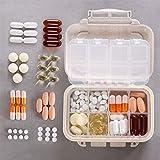 Weekly Pille Veranstalter–AOLVO klein Süße Tragbare Pillendose Tablettenbox Schutzhülle für Geldbörse/Pocket Feuchtraum Pille Spender Halterung mit 8Fächern für Pillen/Vitamin/Fisch, Öl/Nahrungsergänzungsmittel/Medikamenten